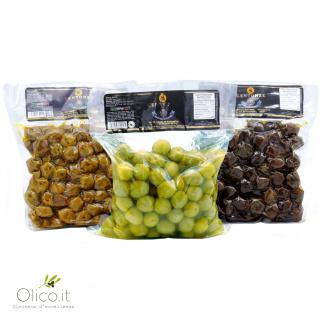 Tris Olives Centonze: Vertes en saumure,  Noires au Four et Assaisonnées à l'Huile d'Olive Extra Vierge