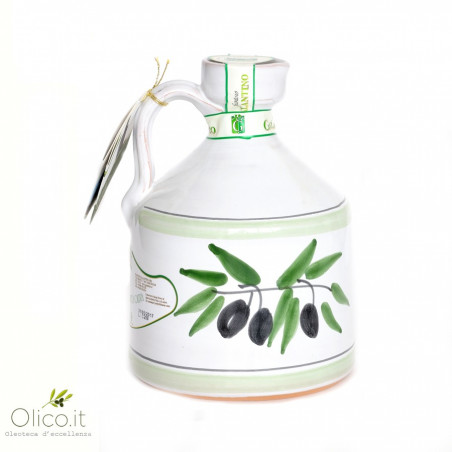 "Handmade Ceramic Jar ""Angel"" with Extra Virgin Olive OIl"