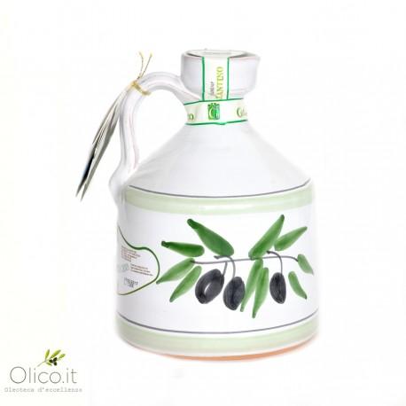 "Handmade Ceramic Jar ""Angel"" with Extra Virgin Olive OIl"