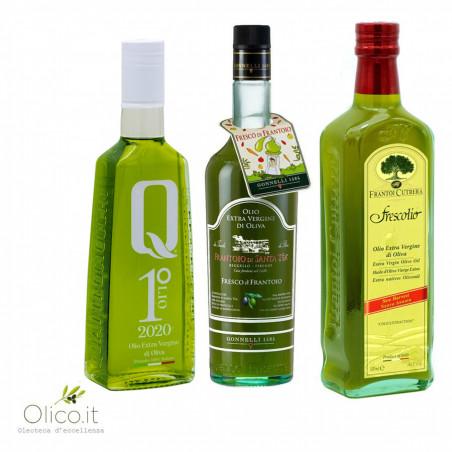 Novello Olive Oil Selection - Primolio Quattrociocchi Frescolio Cutrera Fresco di Frantoio Santa Tea 500 ml x 3