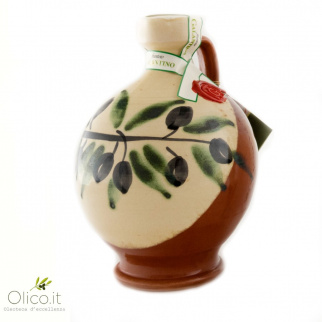 "Handmade Ceramic Jar ""Robin"" with Extra Virgin Olive Oil"