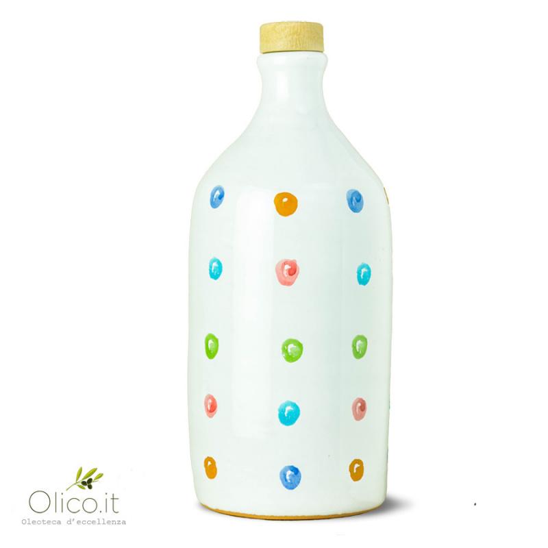 Orcio in Ceramica Pois con Olio Extra Vergine di Oliva Monocultivar Peranzana 500 ml