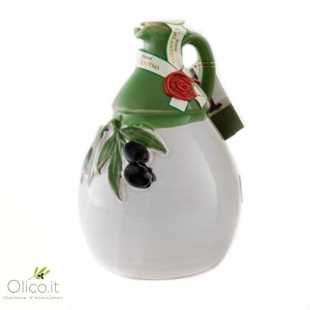 "Orcio in Ceramica ""Picasso"" con Olio Extra Vergine di Oliva 500 ml"