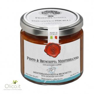 Pesto e Bruschetta Mediterraneo con acciughe e capperi 190 gr