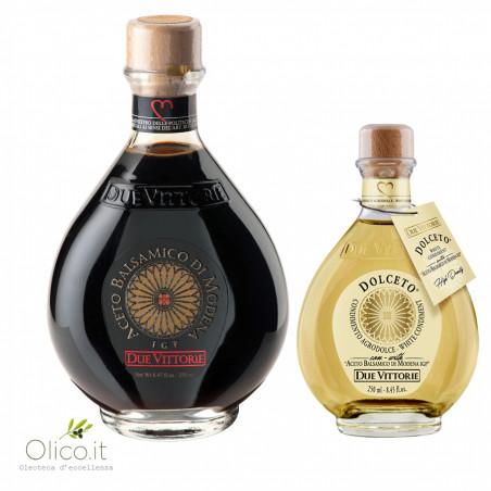 Set Due Vittorie Oro Blanc et Noir: Vinaigre Balsamique de Modena IGP Oro 500 ml et Vinaigre Blanc Dolceto 250 ml
