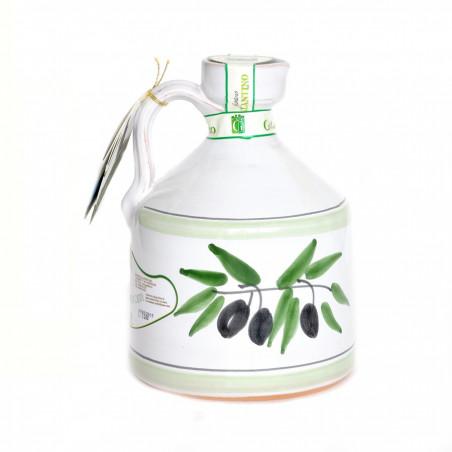 Ambachtelijke keramiekkruik Angel met Olijfolie eerste persing 500 ml