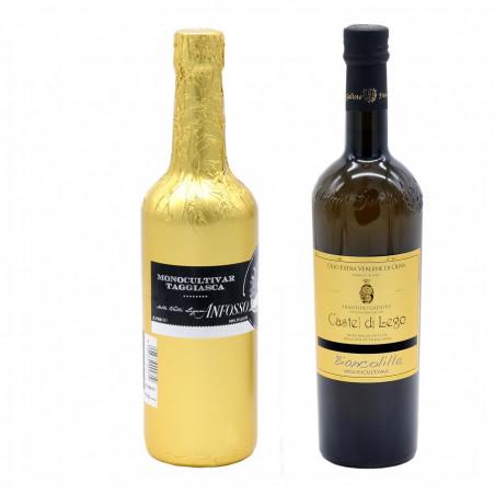 Sélection de 2 Huiles d'Olive Extra Vierge Fruitées Délicates  - Biancolilla et Taggiasca 750 ml x 2