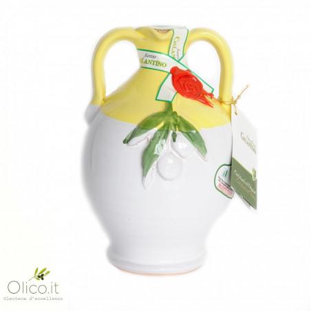 """Cruche en Céramique """"Cinci"""" avec Huile Extra Vierge d'Olive 500 ml"""