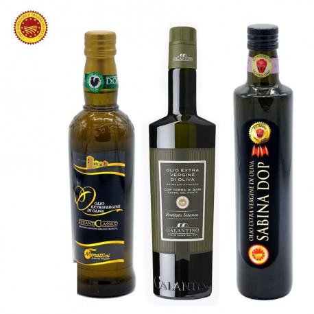 Sélection de 3 Huiles d'Olive Extra Vierges AOP       Chianti - Terra di Bari  - Sabina