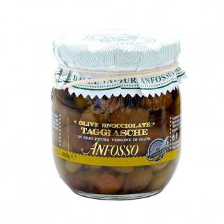 Entkernte Taggiasca Oliven in nativem Olivenöl 185 gr