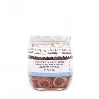 Filetti di Acciughe arrotolati con Cappero in olio di oliva 105  gr