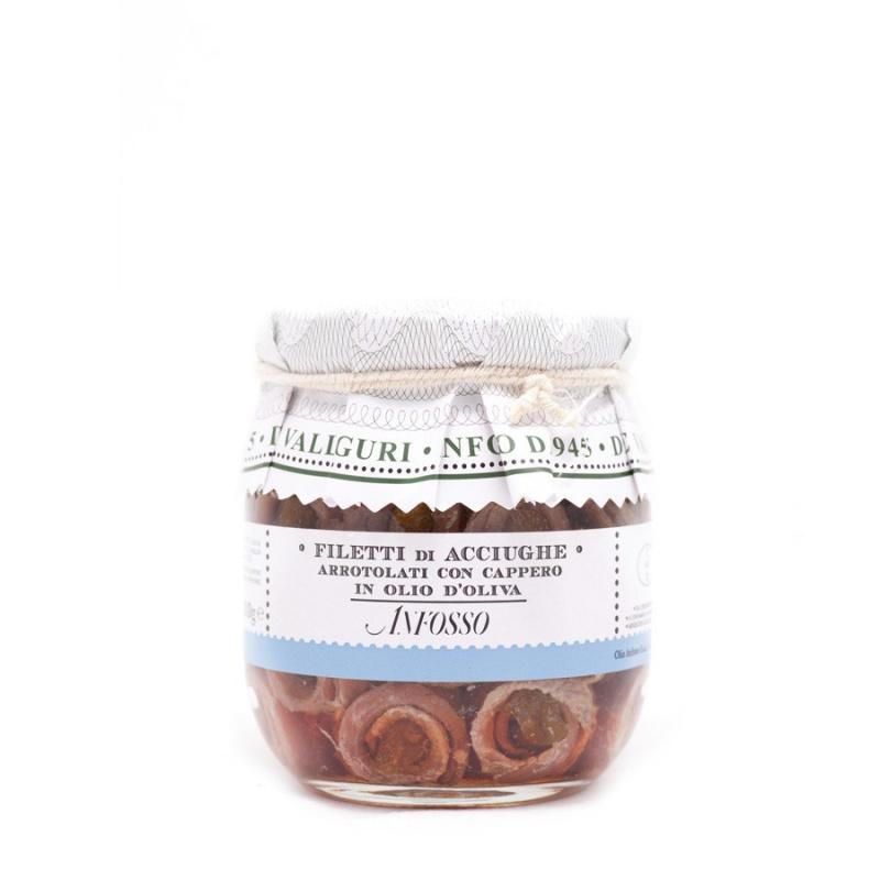 Filetti di Acciughe arrotolati con Cappero in olio d'oliva