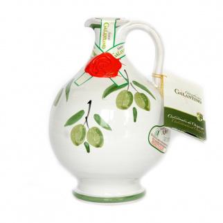 "Handgemachter Keramikkrug ""Rita"" mit nativem Olivenöl extra 500 ml"