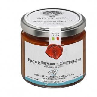 Pesto et Bruschetta Mediterraneo avec anchois et câpres 190 gr