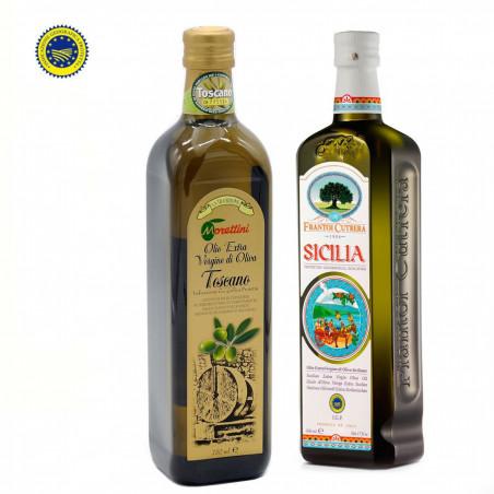 Zwei native Olivenöle extra IGP: Toscano und Sicilia 750 ml + 500 ml
