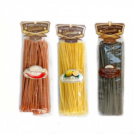 Linguine Gourmet Pasta Set - Peperoncino Zitrone Tintenfischtinte 500 gr x 3