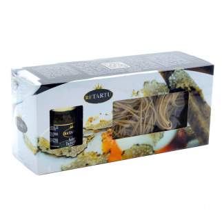 Pasta Geschenkpaket - Strangozzi mit Schwarzem Trüffel 250 gr und Soße 50 gr