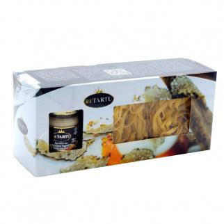 Paquet Cadeau Pâtes - Tagliatelle aux oeufs  à la Truffe Blanche 250 gr et Sauce aux Truffes 45 gr