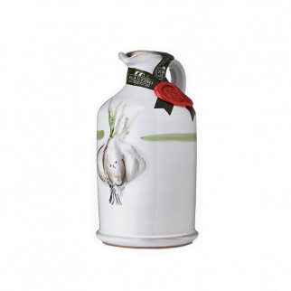 Handgemaakt Keramisch Kruikje Extra Vergine Olijfolie en Knoflook 250 ml