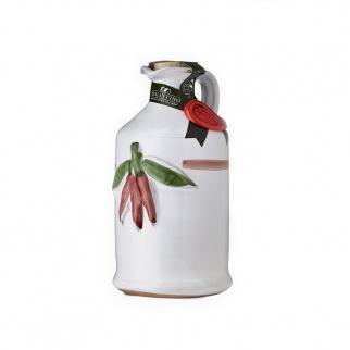 Handgemachter Keramikkrug mit Nativem Olivenöl Extra und  Peperoncino 250 ml