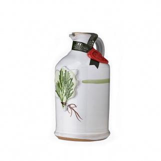 Handgemachter Keramikkrug mit Nativem Olivenöl Extra und  Rosmarin 250 ml