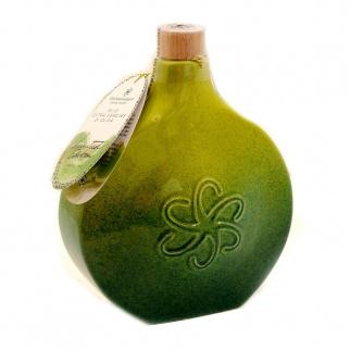 "Handmade Deruta Ceramic flask ""Green Fog"" with Extra Virgin Olive Oil 500 ml"