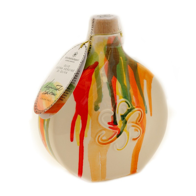 """Handmade Deruta Ceramic flask """"Color Fall"""" with Extra Virgin Olive Oil"""