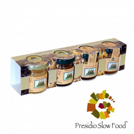 Proefset met 4 verschillende soorten Winterhoning van Siciliaanse Zwarte Bijen 40 gr x 4