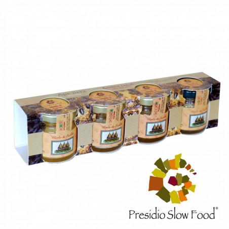 Proefset met 4 verschillende soorten Lentehoning van Siciliaanse Zwarte Bijen 40 gr x 4