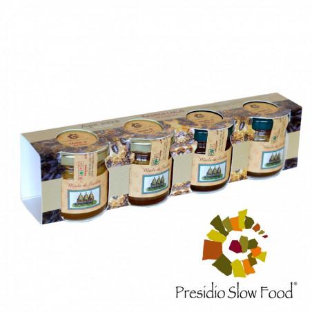 Proefset met 4 verschillende soorten Zomerhoning van Siciliaanse Zwarte Bijen 40 gr x 4