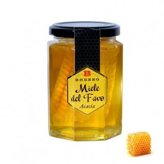 Miel d'Acacia avec Rayon pot en verre 350 gr