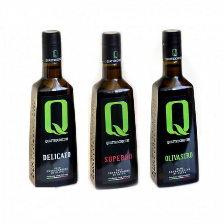Sélection Huiles d'Olive Extra Vierge Quattrociocchi      Delicato - Superbo  - Olivastro 500 ml x 3