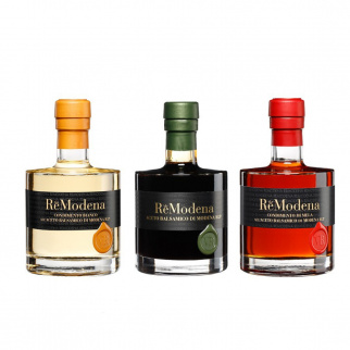 Tris Balsamic Wine Vinegar ReModena - White, classic PGI and Apple 250 ml x 3