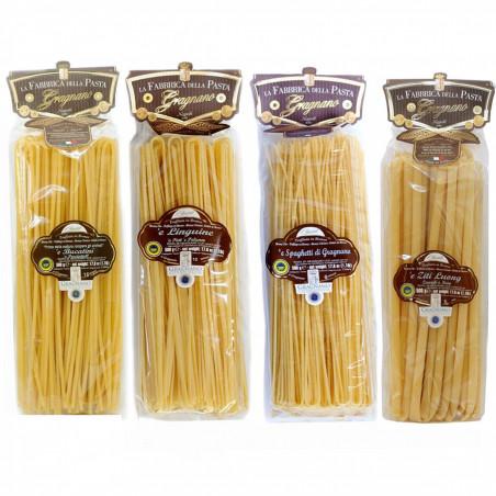 Set Pâtes Longues de Gragnano IGP - Bucatini, Linguine, Spaghetti, Ziti 500 gr x 4