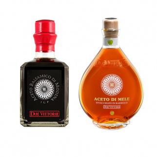 Essig Set Due Vittorie - Balsamico Argento und Apfel 250 ml x 2