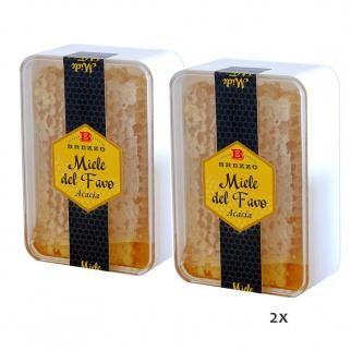 Bipack Miel d'Acacia avec Rayon en boîte 200 gr x 2