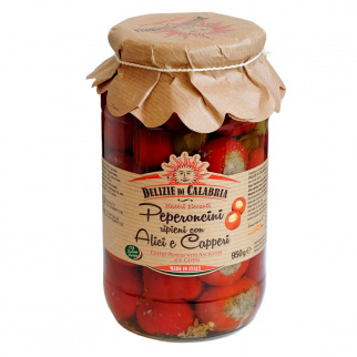 Kirsch Peperoncino mit Sardellen und Kapern gefüllt  950 gr