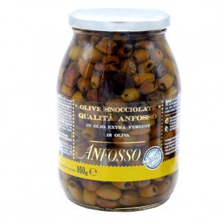 Olives Dénoyautées Anfosso à l' Huile d'Olive Extra Vierge 950 gr