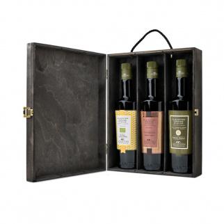 Coffret en bois Séléction Huile d'Olive Extra Vierge Galantino 500ml x 3