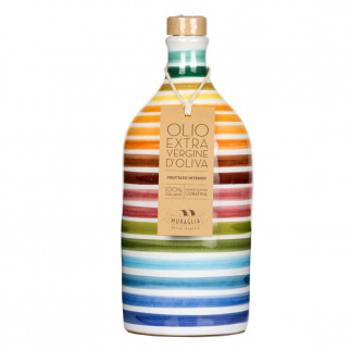 Handgemachter Keramikkrug Arcobaleno mit Nativem Olivenöl Extra Monokultur Coratina 500 ml