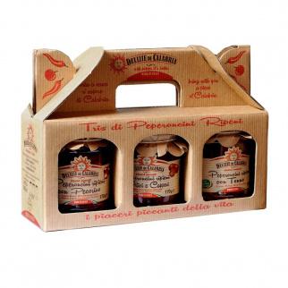 Tris di Peperoncini Ripieni: Tonno, Alici e Capperi, Pecorino 170 gr x 3