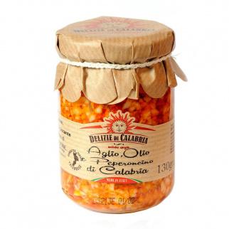 Soße mit Knoblauch, Öl und Peperoncino aus Kalabrien 130 gr