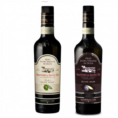 Selectie van 2 Exclusieve Toscaanse Extra Vergine Olijfolies van Uitsluitend Groene en Zwarte Olijven 500 ml x 2
