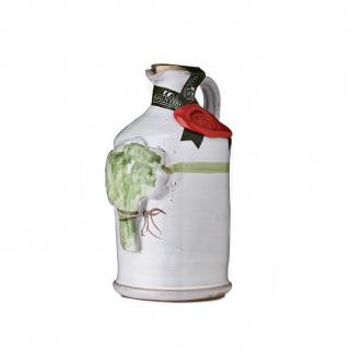 Handgemachter Keramikkrug mit Olivenöl Extra und Basilikum 250 ml