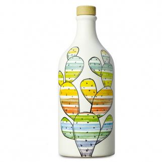 Handgemachter Keramiktonkrug Fico d'India mit Monokultivarem nativem Olivenöl extra Peranzana 500 ml
