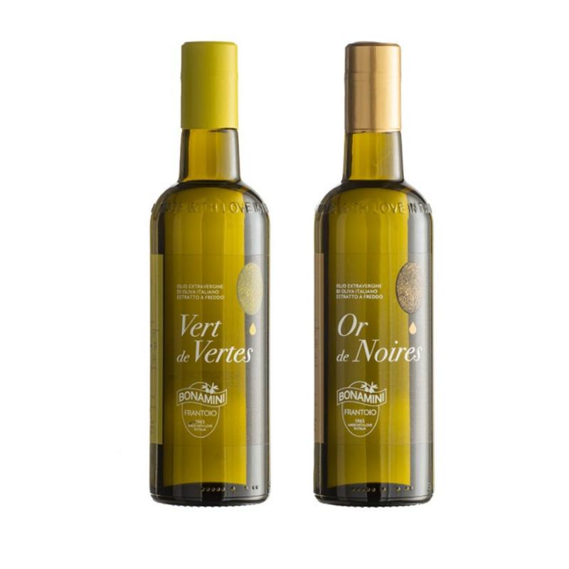 Séléction Huile Extra Vierge d'Olive Bonamini - Vert de Vertes et Or de Noires 500 ml x 2