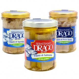 Filets de Poisson à l'Huile d'Olive Sebastiano Drago : Maquereau, Saumon, Espadon 200 gr x 3