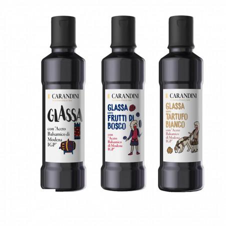 Tris Balsamic Glazes with Vinegar of Modena PGI Carandini: Classic, Wild Fruits, White Truffle 250 ml x 3