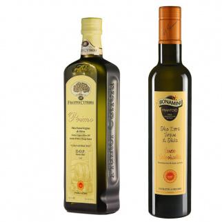 Les deux Huiles d'Olive Extra Vierge AOP: Primo Monti Iblei AOP et Veneto Valpolicella AOP 500 ml x 2