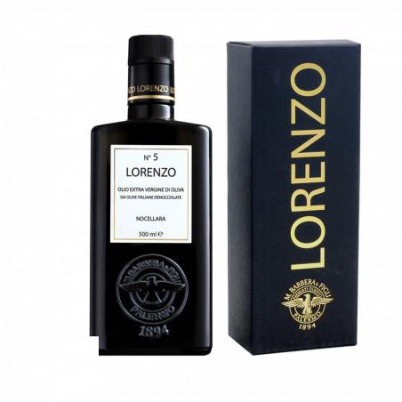 Geschenkbox Monokultivares Natives Entsteintes Olivenöl Extra Nocellara Lorenzo n° 5 500 ml
